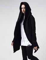 Кофта - мантия с капюшоном без застежки черная, кофта с карманами, кардиган стильный молодежный