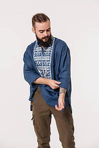 Мужская рубашка с вышивкой Атаман на синем льне