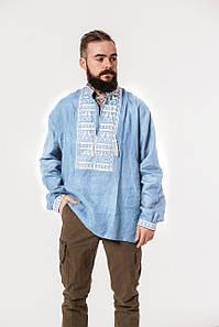 Мужская рубашка с вышивкой Атаман на голубом льне