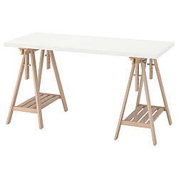 IKEA LAGKAPTEN / MITTBACK  Письменный стол, белый / береза (194.171.93)