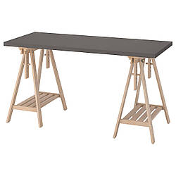 IKEA LAGKAPTEN / MITTBACK  Письменный стол, темно-серый / береза (794.171.09)