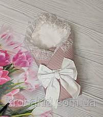 Детский демисезонный  конверт на выписку, конверт-одеяло (ВЕСНА/ ЛЕТО) - плед+ пеленка+ бант резинка, фото 3