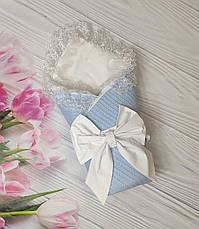 Детский демисезонный  конверт на выписку, конверт-одеяло (ВЕСНА/ ЛЕТО) - плед+ пеленка+ бант резинка, фото 2