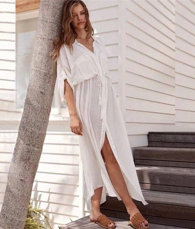 Довга пляжна туніка - сорочка з поясом (р. S-L) 6825700