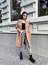 Кашемировое Пальто на запах под пояс с отложным воротником и прорезными карманами (р. 42-46) 17pt182, фото 3