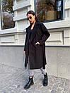 Кашемировое Пальто на запах под пояс с отложным воротником и прорезными карманами (р. 42-46) 17pt182, фото 4