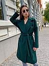 Кашемировое Пальто на запах под пояс с отложным воротником и прорезными карманами (р. 42-46) 17pt182, фото 5