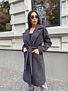 Кашемировое Пальто на запах под пояс с отложным воротником и прорезными карманами (р. 42-46) 17pt182, фото 8