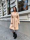 Кашемировое Пальто на запах под пояс с отложным воротником и прорезными карманами (р. 42-46) 17pt182, фото 9