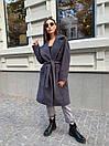 Кашемировое Пальто на запах под пояс с отложным воротником и прорезными карманами (р. 42-46) 17pt182, фото 10