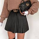 Короткая плиссированная юбка женская из экокожи (р. S, M) 77si468, фото 7