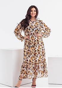 Шифоновое платье в принт в больших размерах с резинкой на талии и оборками (р. 48-54) 11526