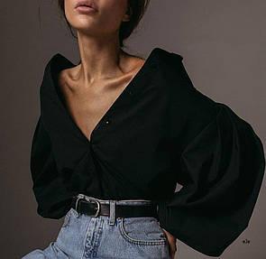 Женская рубашка с объемными рукавами фонариками в черном и белом цвете (р. 42-46) 78ru462
