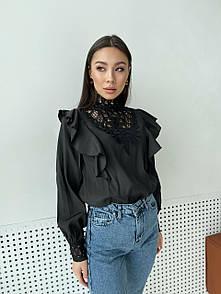Черная блуза с рюшами из кружевом на воротнике нарядная с длинным рукавом (р. 42-46) 79ru456