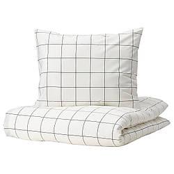 IKEA VITKLÖVER  Комплект постельного белья, белый, черный / в клетку (204.906.39)