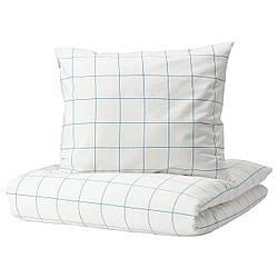 IKEA VITKLÖVER  Комплект постельного белья, белый, синий / клетчатый (804.890.39)