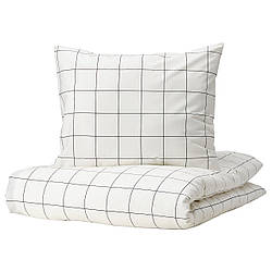 IKEA VITKLÖVER  Комплект постельного белья, белый, черный / в клетку (704.906.65)