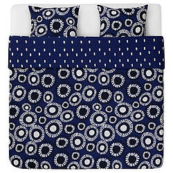 IKEA KLIPPLÖK  Комплект постельного белья, синий / белый (204.981.07)