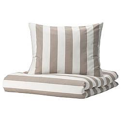 IKEA BÄRALM  Комплект постельного белья, бело-бежевый / в полоску (404.905.77)