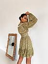 Платье c воротничком и шнуровкой на груди с оборками внизу летнее (р. S, M, L) 14032286, фото 2
