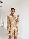 Платье c воротничком и шнуровкой на груди с оборками внизу летнее (р. S, M, L) 14032286, фото 3