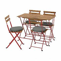 IKEA TÄRNÖ  Стол + 4 стула, садовый, красный / светло-коричневая морилка / Frösön / Duvholmen темно-серый