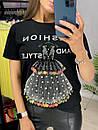Хлопковая футболка с декорированным рисунком в виде платье и надписями (р. 42-46) 33ma429, фото 3