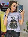 Хлопковая футболка с декорированным рисунком в виде платье и надписями (р. 42-46) 33ma429, фото 4