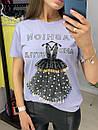 Хлопковая футболка с декорированным рисунком в виде платье и надписями (р. 42-46) 33ma429, фото 5