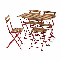 IKEA TÄRNÖ  Стол + 4 стула, снаружи, красная / светло-коричневая морилка (293.936.29)