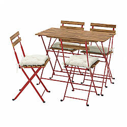 IKEA TÄRNÖ  Стол + 4 стула, садовый, красный / светло-коричневая морилка / бежевая Куддарна (993.936.97)
