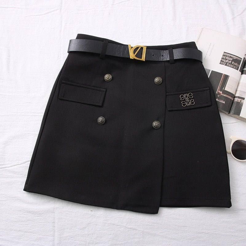 Классическая юбка женская короткая из костюмной ткани с ремешком и пуговицами (р. 42, 44) 68si470