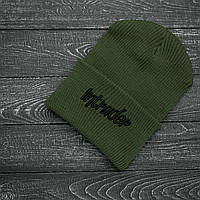 Мужская   Женская шапка Intruder хаки, зимняя big logo зеленая