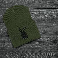 Мужская   Женская шапка Intruder хаки, зимняя bunny logo зеленая