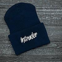 Мужская   Женская шапка Intruder синяя, зимняя big logo