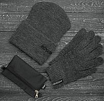 Мужская   Женская шапка Intruder серая зимняя small logo + перчатки серые, зимний комплект + ПОДАРОК