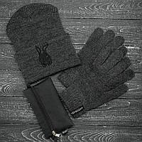 Мужская   Женская шапка Intruder серая зимняя bunny logo + перчатки серые, зимний комплект + ПОДАРОК