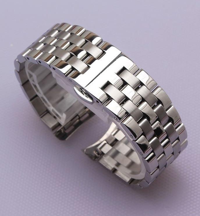 Браслет для годинника з нержавіючої сталі, литої, глянц/мат, пряме/напівкругле завершення. 22 мм