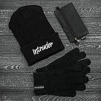 Мужская   Женская шапка Intruder черная зимняя big logo + перчатки черные, зимний комплект + ПОДАРОК