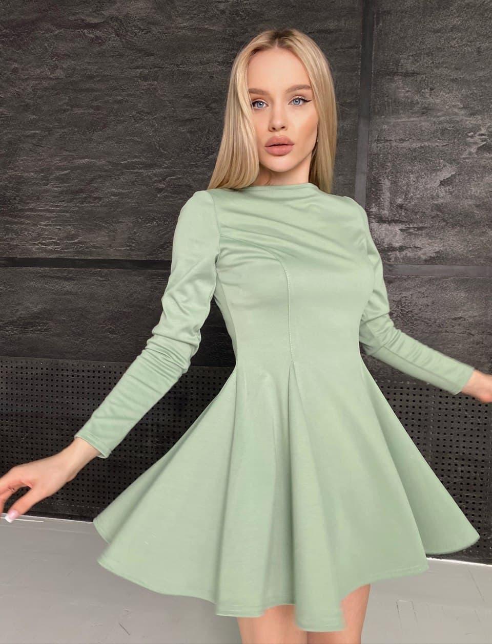 Приталенное платье с расклешенной юбкой - солнце и длинным рукавом (р. S-L) 66ty2271Q