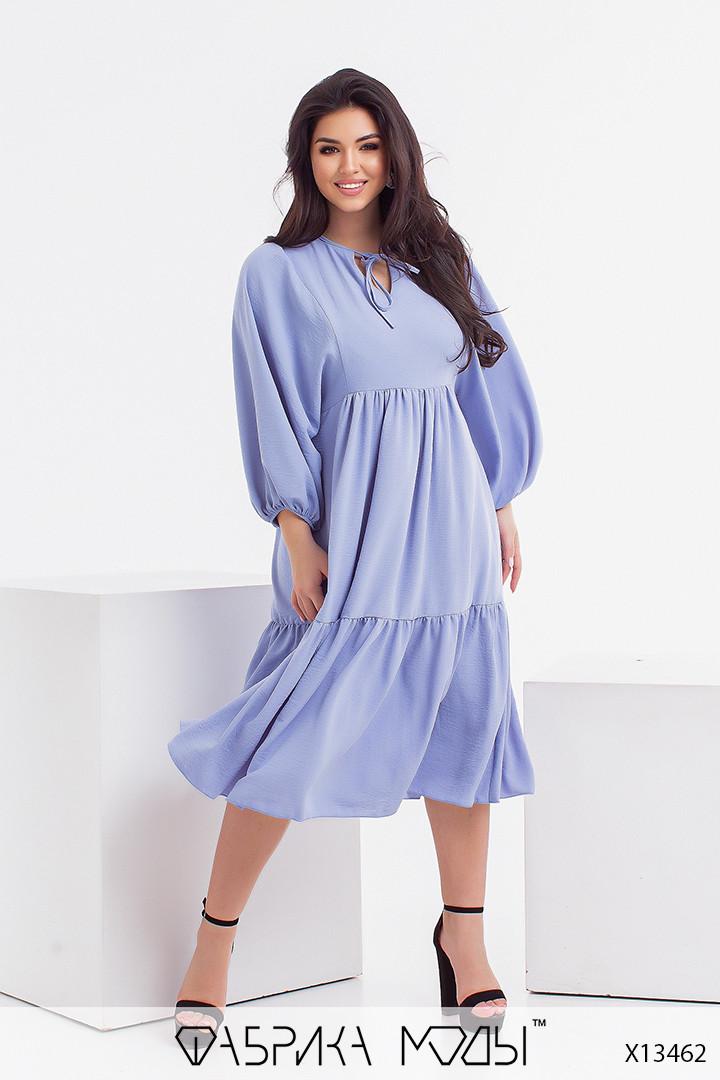 Свободное платье в больших размерах с рукавами фонариками и оборками (р. 46-56) 1uk24