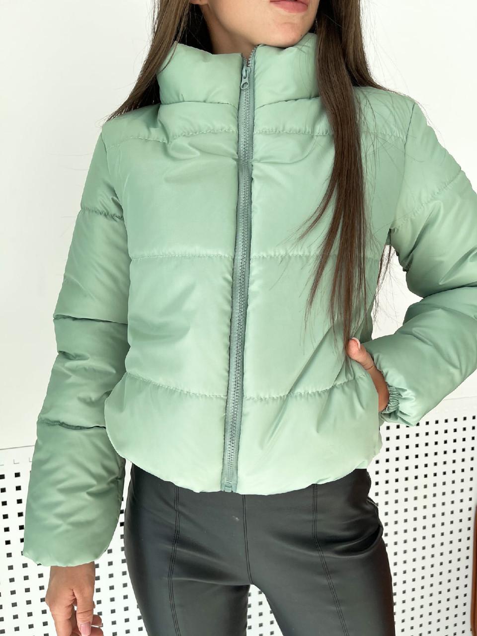 Дутая куртка короткая демисезонная с воротником стойкой трендовая на молнии (р. 42 - 46) 76ki618
