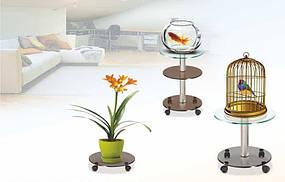 Подставки под цветы из стекла Ø40см коричневые (бронза, bronza) напольные на колесиках COMMUS