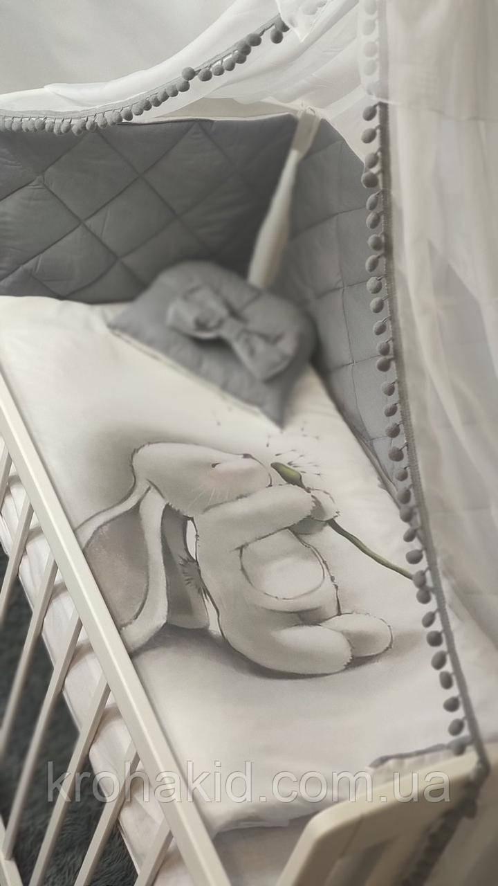 """Набір постільної білизни дитяче ліжечко стібка """"Зайчик"""" - Бортики в ліжечко / захист в дитяче ліжечко"""