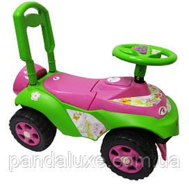 Детский толокар машинка каталка для девочки со спинкой