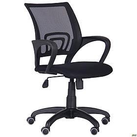 Операторське крісло офісне AMF Веб з сітчастою спинкою чорне