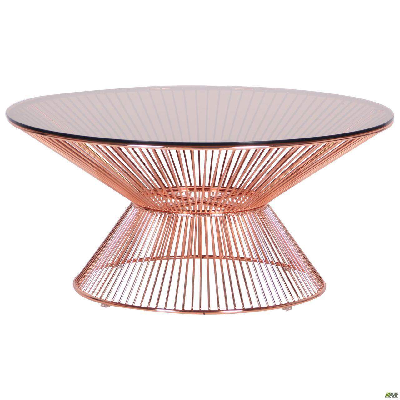 Журнальний стіл Owi rose gold скляний металевий