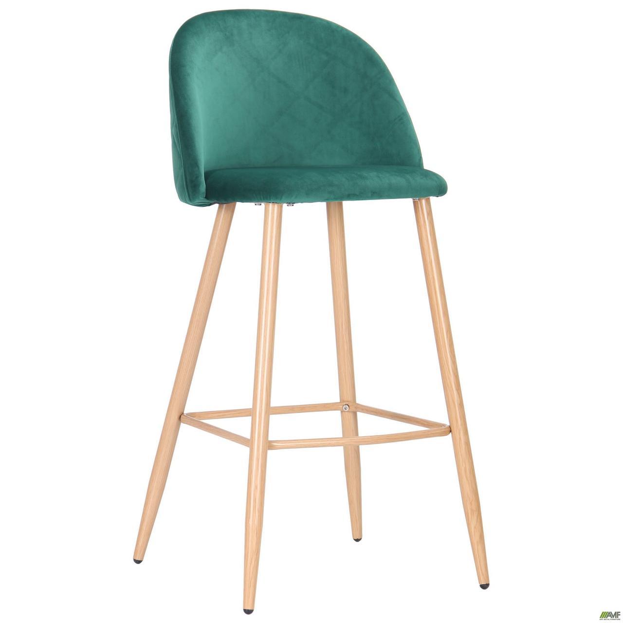 Барный стул высокий Bellini зеленый цвет ткани сидения на металлокаркасе