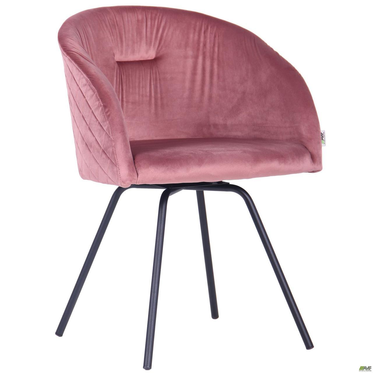 Крісло поворотне Sacramento чорний/велюр рожевий антик