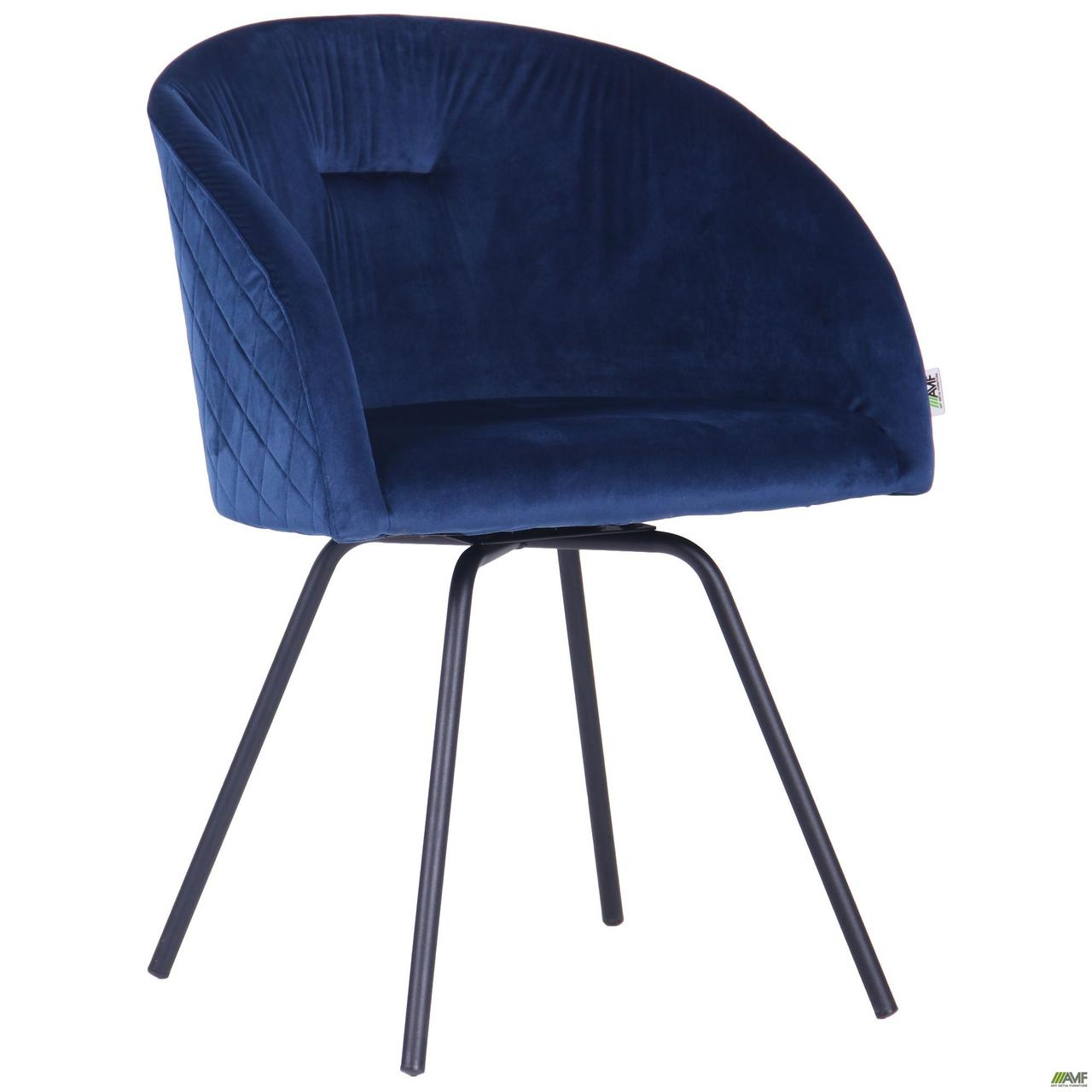 Кресло поворотное Sacramento черный/велюр темно-синий